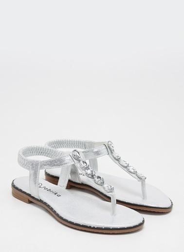 F By Fabrika Kadın Altın Sandalet ANETA Beyaz
